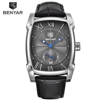 1f9dc9cbbd87 BENYAR 5114 m en Stock Comprar relojes en línea de cuero negro Chrono reloj  de pulsera