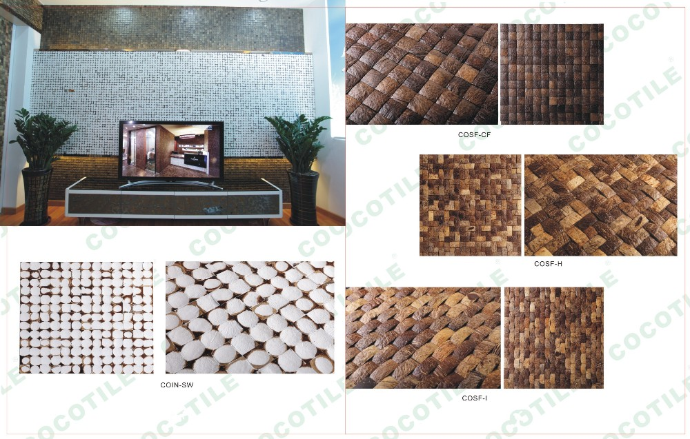 Home Depot Wall Decorative Art Pattern Coconut Shell Mosaic Tiles ...