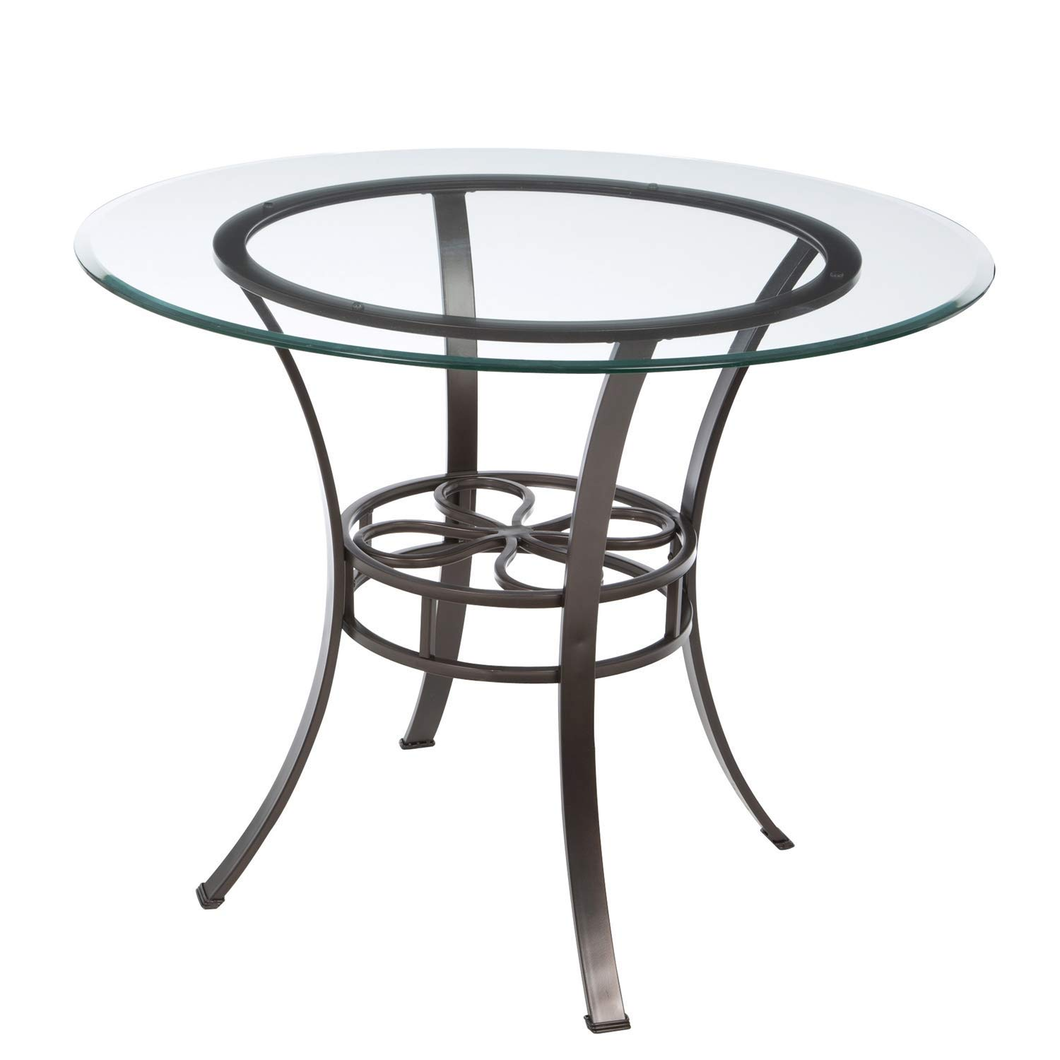 BeUniqueToday Round Glass Top Dining Table with Durable Metal Base, This Round Glass Top Dining Table is Classically Styled with A Modern Flair, Sturdy Metal Base in Dark Chocolate Finish