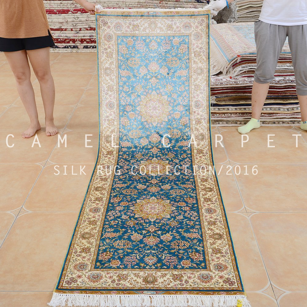 Alfombras de pasillo baratas interesting sala de alfombra pasillo azul color de seda tejidas a - Alfombras patchwork baratas ...