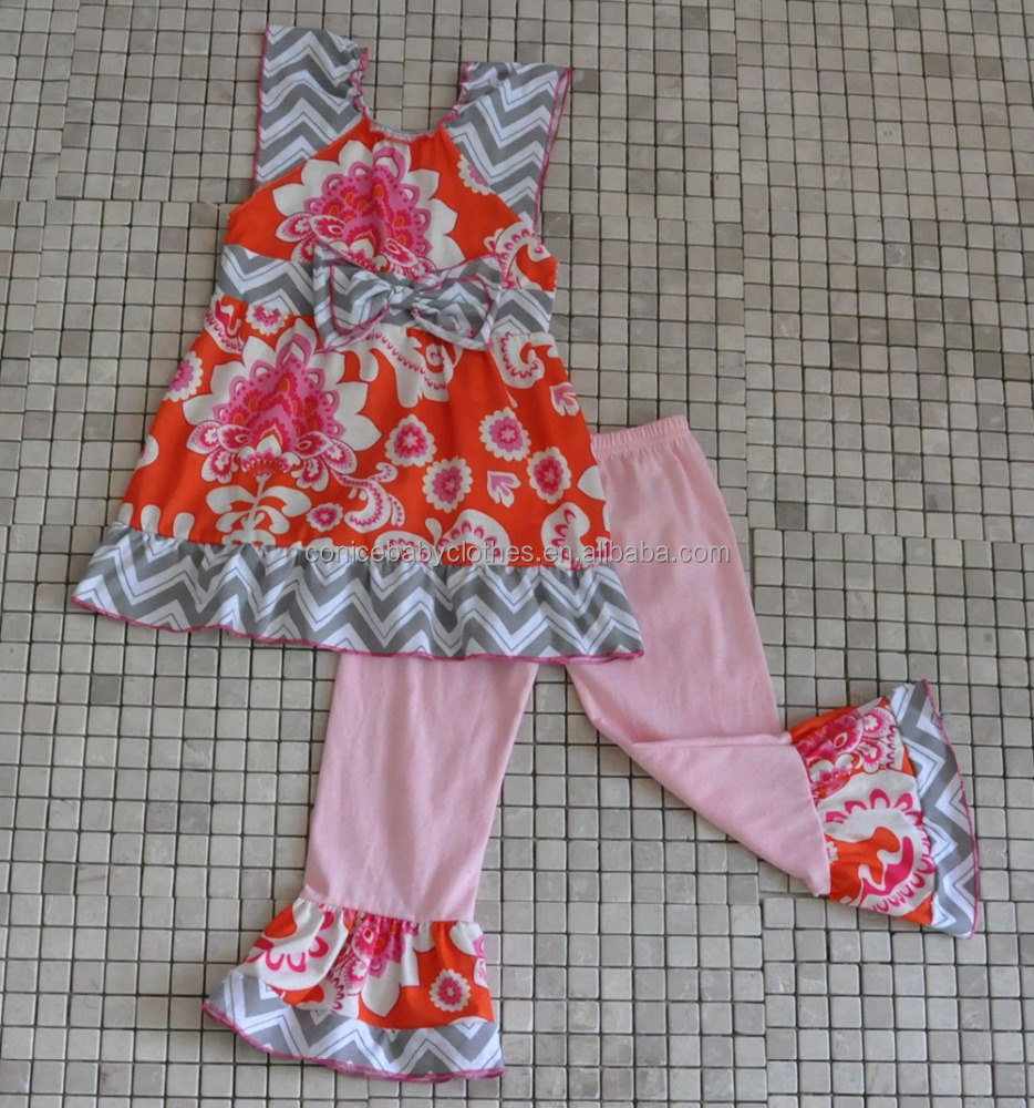 grey chevron bow tunic top orange ruffle pants toddler boutique outfits
