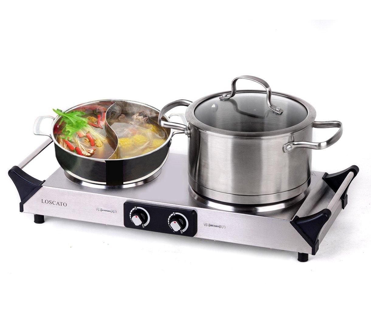 LOSCATO 1800W Portable Electric Cast Iron Cooktop Countertop Burner (Double Burner)