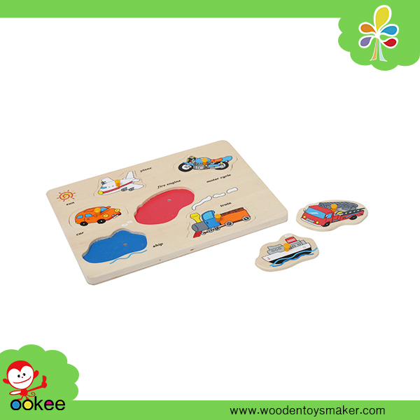 Wooden Educational Toy Traffic Puzzle Game for Children Chinese Kids Games