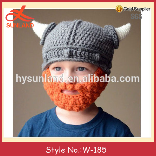 W-185 Adorable Lindo Niños Viking Crochet Sombrero Con Barba - Buy ...