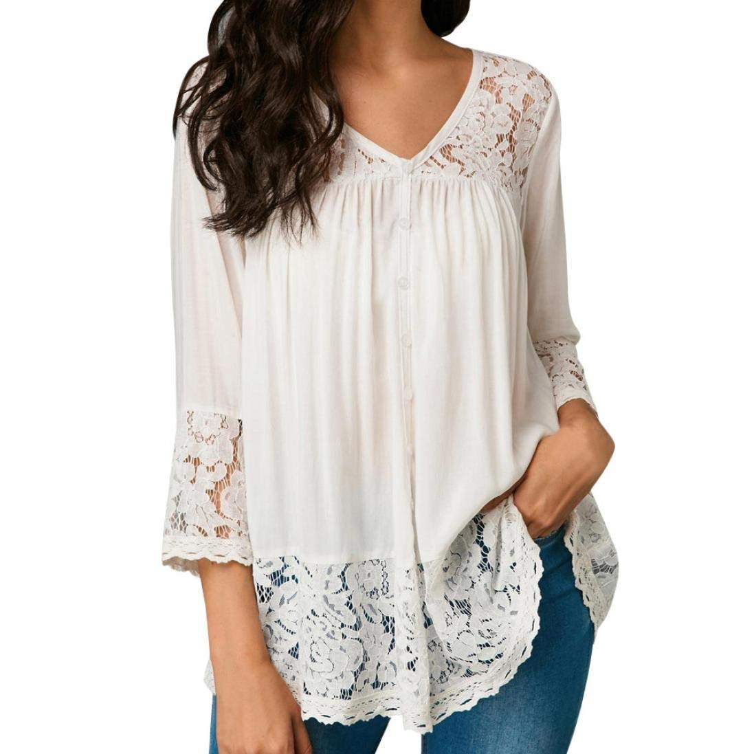 Clearance! Kshion Women Fashion Three Quarter Sleeve Chiffon Lace V Neck Solid Color Blouse T-Shirt (White, M)