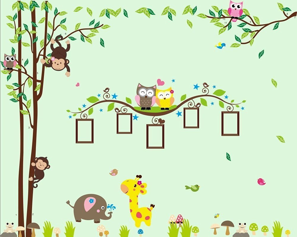 Nursery Wall Decals XL, Nursery Tree, Owl, Monkey, Elephant,Giraffe Wall Decal, Picture Frame Wall Decals XL, Nursery Owls Wall Decor, Kids Room Wall Decals
