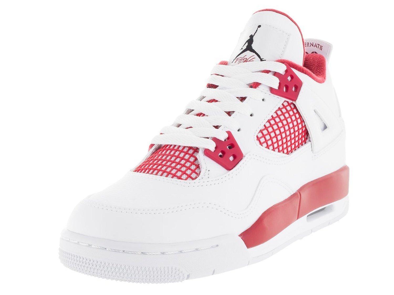 5dafeec9457aaf Get Quotations · Nike Jordan Kids Air Jordan 4 Retro Bg White Black Gym Red  Basketball Shoe