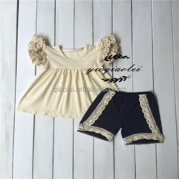 Girls fall 2016 boutique little girls mathing stripe ruffle pant outfit kid clothing
