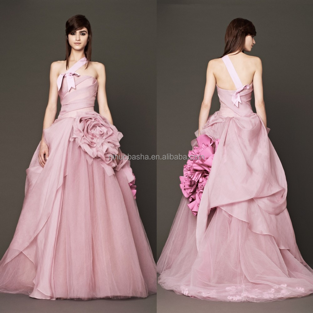 2015 Pink Ball Gown Wedding Dress With Asymmetrical One-shoulder ...