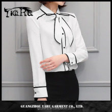 women casual office lady long sleeve with collar simple top 2017 new design guangzhou manufacturer