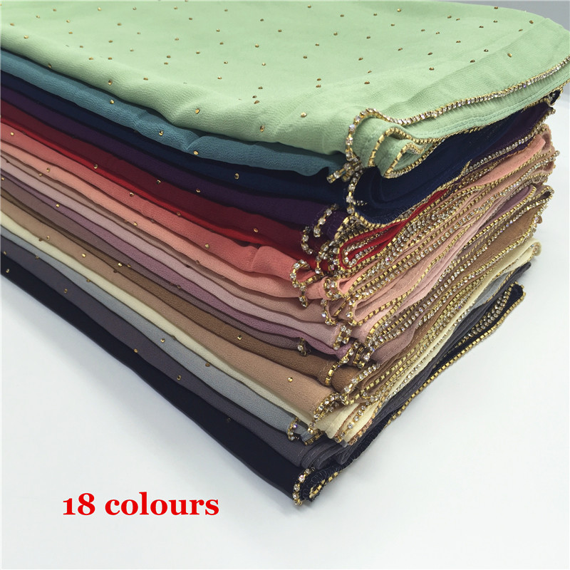 2018 new design glitter scarf women hijab with zipper chiffon hijab women