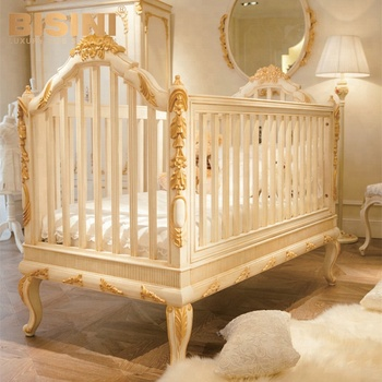 Bisini Luxury Wooden Baby Crib Royal Golden Hand Carving New Born Cot Bf07