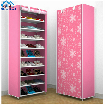 Shoe rack fittings plastic and irol and fabric