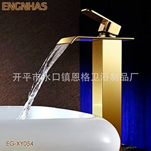 Furesnts Modern home kitchen and bathroom faucet Copper plated waterfall Faucets basin Faucets basin on the stage leading gold plating antique basin Faucets,(Standard G 1/2 universal hose ports)