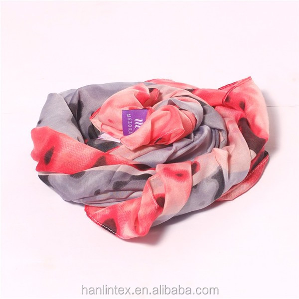 flat screen printed lady scarf with good quality/latest lady fashion scarf with plate screen print made by jili
