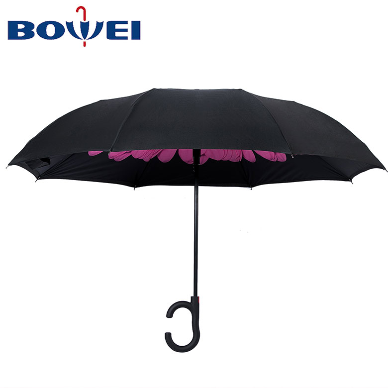 Outdoor flower double layer pongee inverted umbrella with C handle