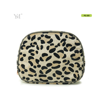 handmade pvc leather make up bag leopard print pattern makeup cosmetic cases