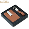 Custom Key Tag Wholesale Blank Metal Keychains genuine leather KeyChain with leather money clip set