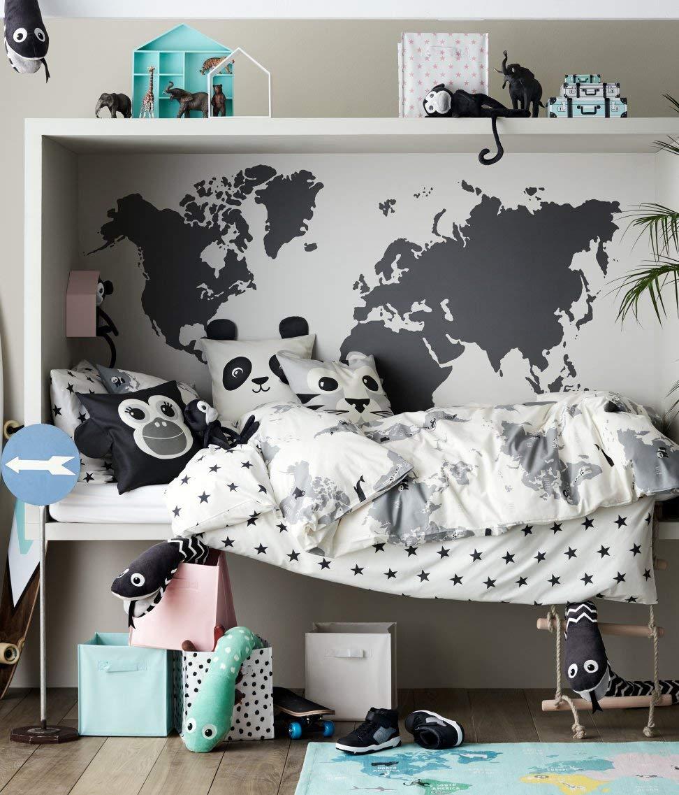 Kids Explorer Bedding World Map 2pc Twin Duvet Cover Set 100% Cotton Animal Map Adventures Boys or Girls Toddle Bedroom Decor (White)