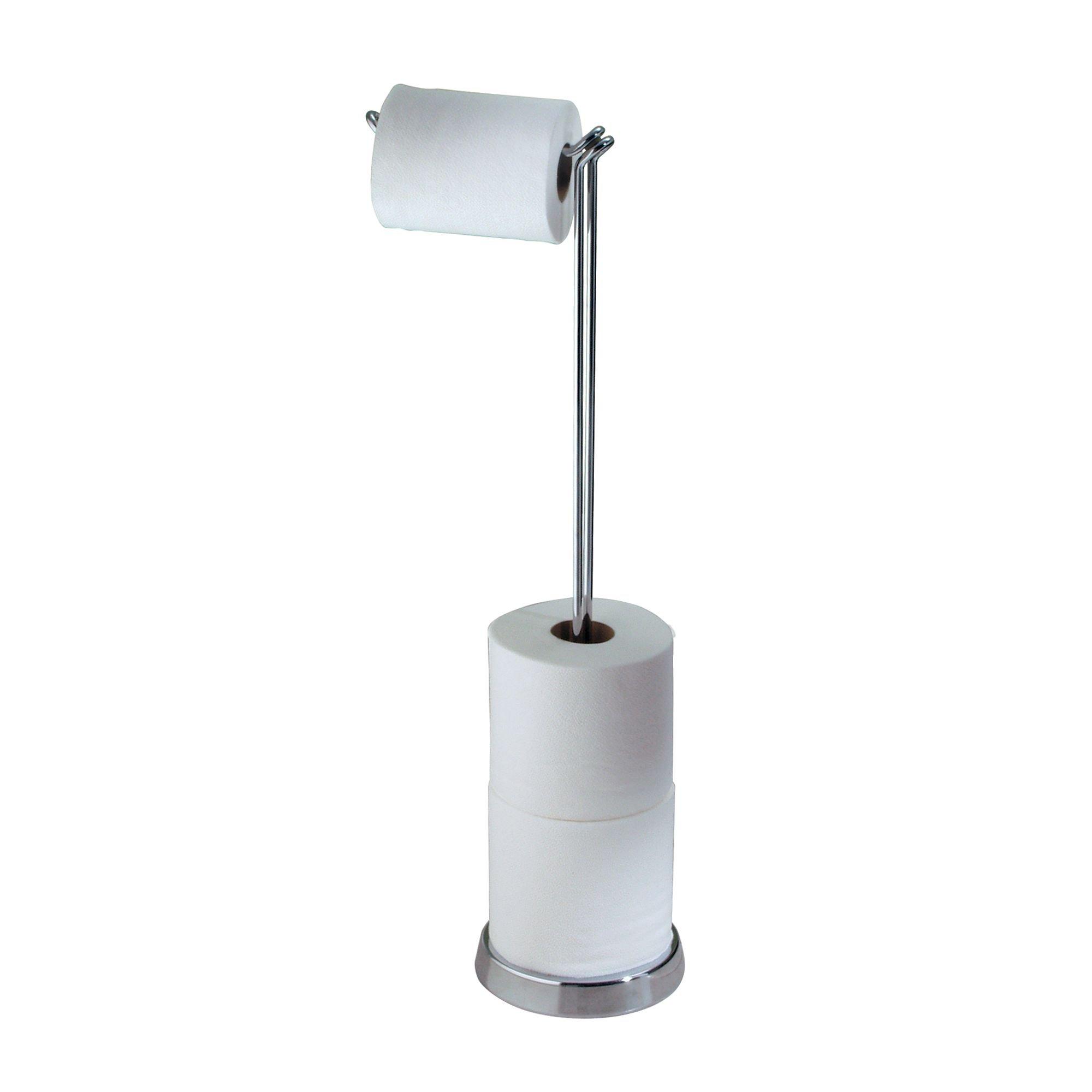 mDesign Freestanding Toilet Paper Roll Holder with Swing Arm Dispenser - Chrome