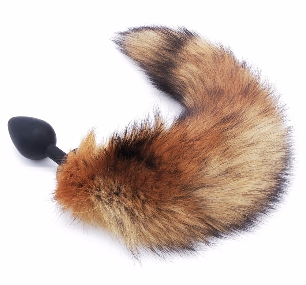 Small Size sex toy real fox fur tail anal plug for woman cosplay