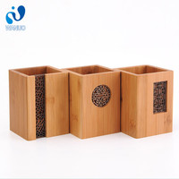 WanuoCraft Bamboo Wood Cylinder Shape Desk Pen Pencil Cup