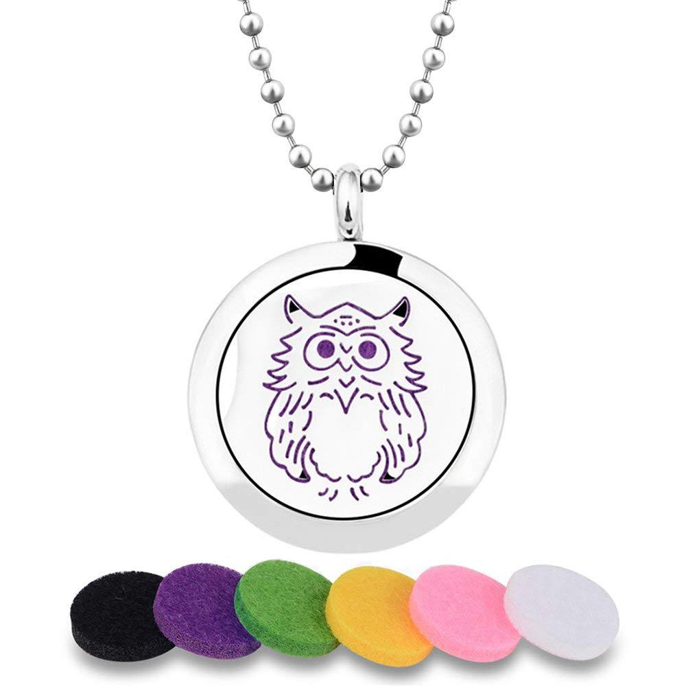 """INFUSEU Owl Design Aromatherapy Essential Oil Diffuser Locket Pendant Necklace + 12PCS Refill Pads + 30"""" Long Ball Chain Stainless Steel Scent Jewelry for Meaningful Gift"""