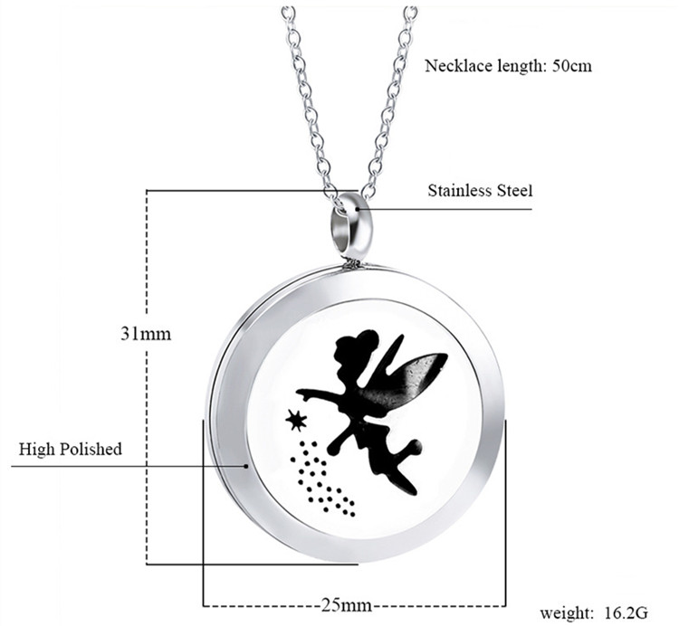 25mm 316L Stainless Steel Jewelry Wholesales Fairy Design Free Colorful Pads Essential Oil Diffuser Aromatherapy Necklace