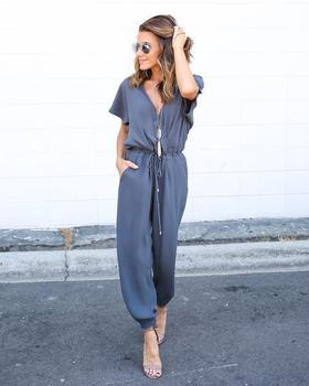 Summer V neck Cross Romper Lacing Solid Chiffon Long Trousers Casual Sexy  Women Jumpsuits With Pocket