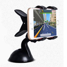 360 Degrees Car Auto Windshield Dual Clip Mount Holder Stand Bracket For iPhone4S 5S 5C 6 6Plus Samsung Galaxy S4 S5 Note 3 4 1Q