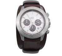 Waterproof Chronograph men's watch stainless steel quartz watch with Genuine leather strap