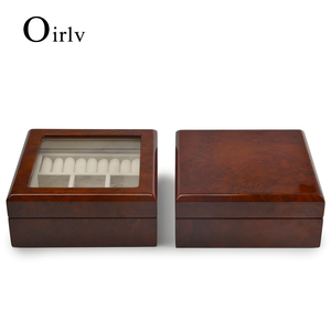 Oirlv luxury open window high quality velvet natural wood ring watch necklace pendant earring display box for jewelry