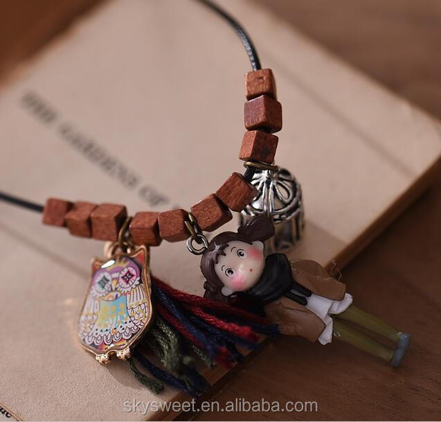 The fairy tale princess and owl charm shape vintage wooden pendant necklace,skysweet fresh cheap forest jewelry(PR1285)
