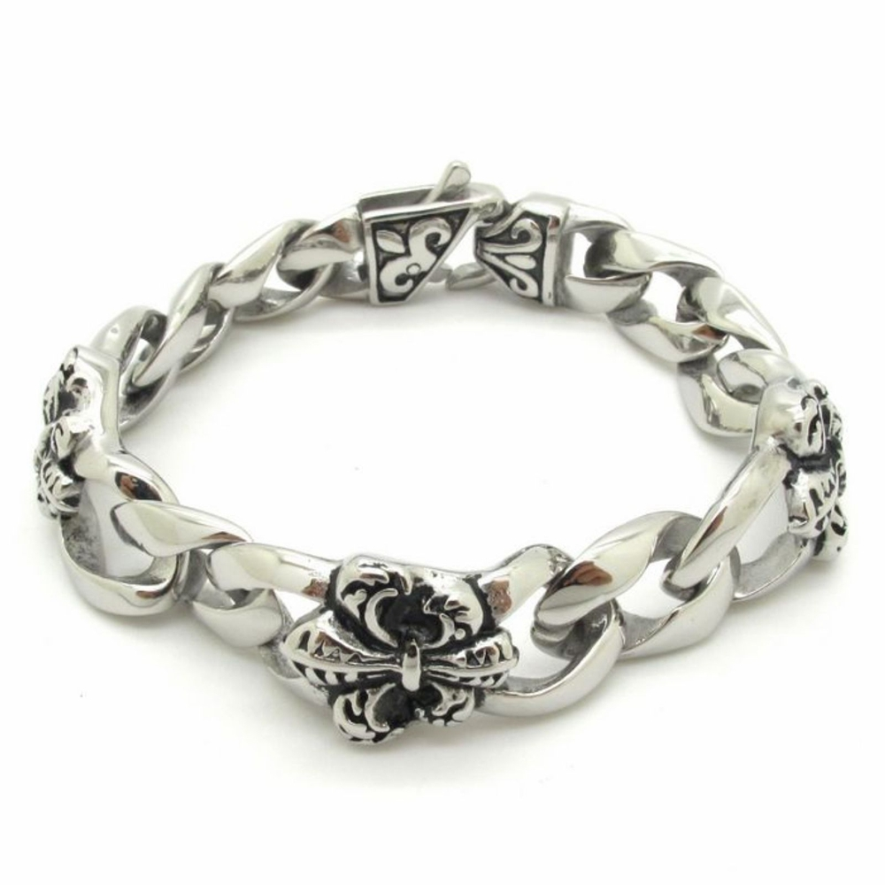 Fleur De Lis Charm Bracelet: Bracelets For Men Fashion Jewelry, 18mmCool Silver Fleur