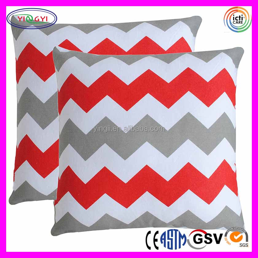 D693 Throw Pillow Covers Couch Chevron Printed Cushion 100% Cotton Pillows Backrest Cushion Cover
