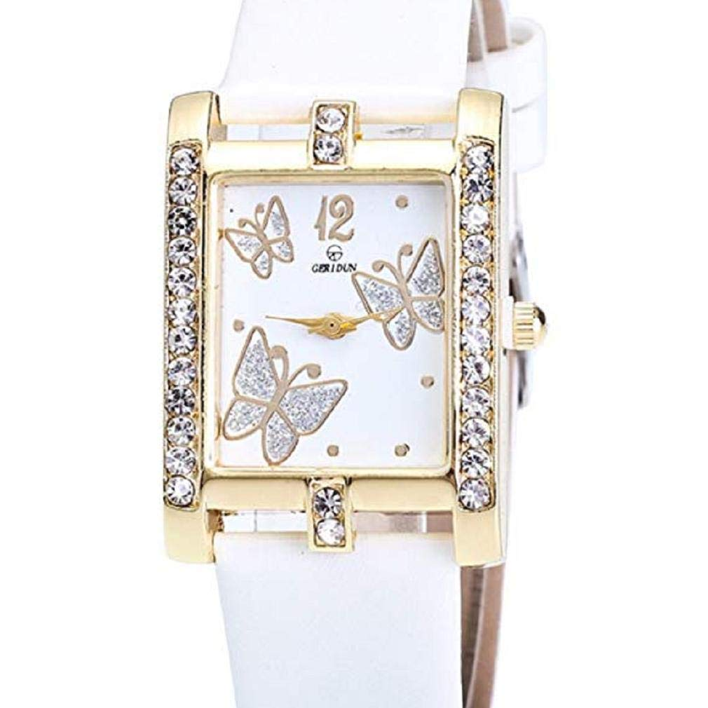 Butterfly Watches Women, Windoson Crystal Analog Lady Watches Female Watches Wrist Watches Women Rectangle Leather Watch (White)