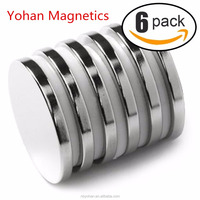 "Powerful Neodymium Disc Magnets, Strong, Permanent, Rare Earth Magnets,1.26""D x 1/8""H, Pack of 6"