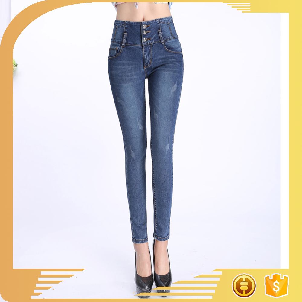 2017 ladies jeans top design skinny ripped slim botton whisker broken comfortable high waist girls jeans factory pencil pants
