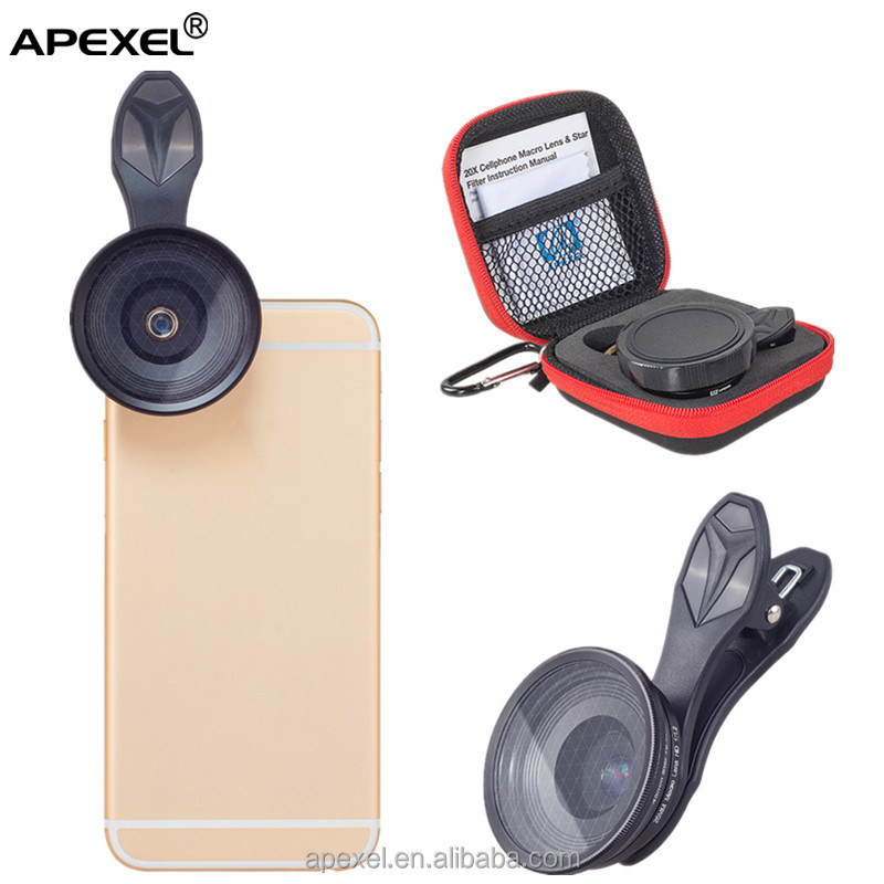 APL-25SR 20x macro lens +star filter 2 in 1 lens kit with portable traveling pouch for mobile phone