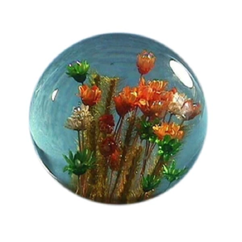 Round Shape Crystal Book Paperweight With Flowers Inserted