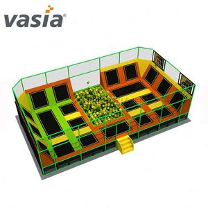 Huaxia Orange and Green Foam Pit Indoor Jumping Mat Kids Indoor Trampoline for Sale
