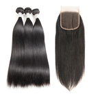 Ms Mary Straight Hair 3 Bundles with 1 Pc Closure Brazilian Virgin Human Hair Weave Silky Straight