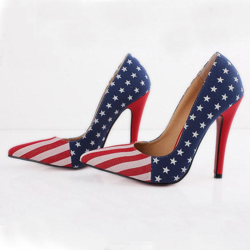 94cc6ea3a195d Get Quotations · Plus size 35-43 women pumps 2015 sexy Denim Slip On red  bottom high heels