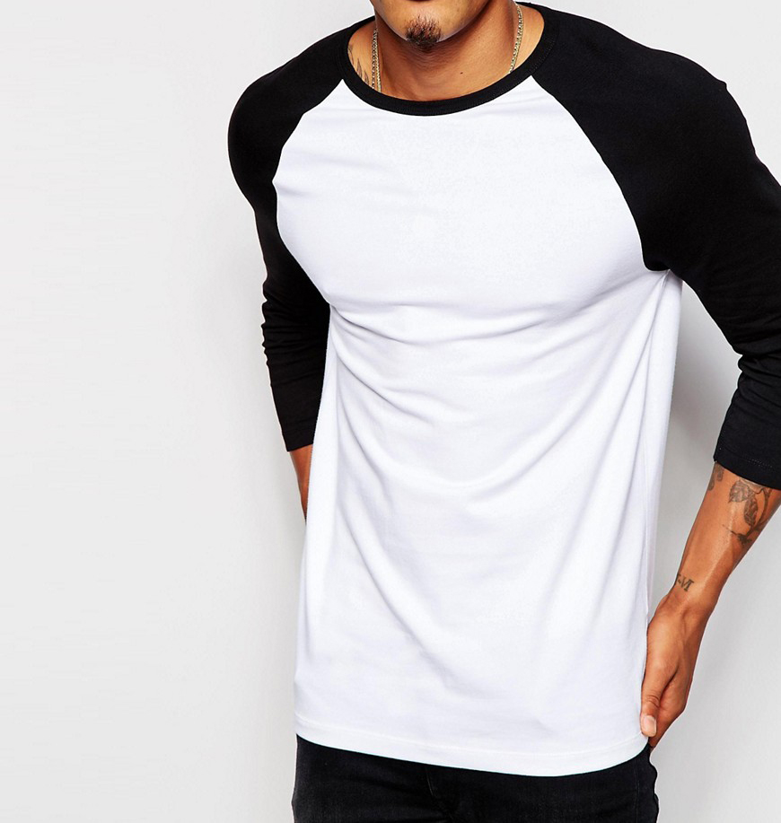 Customized comfortable collar body fit cotton raglan 3/4 sleeve color matching blank t-shirts