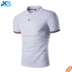 Wholesale OEM Soft Comfortable Men's Fashion Stripe Collar Pure Color Short Sleeve Polo T Shirt With Your Logo Design