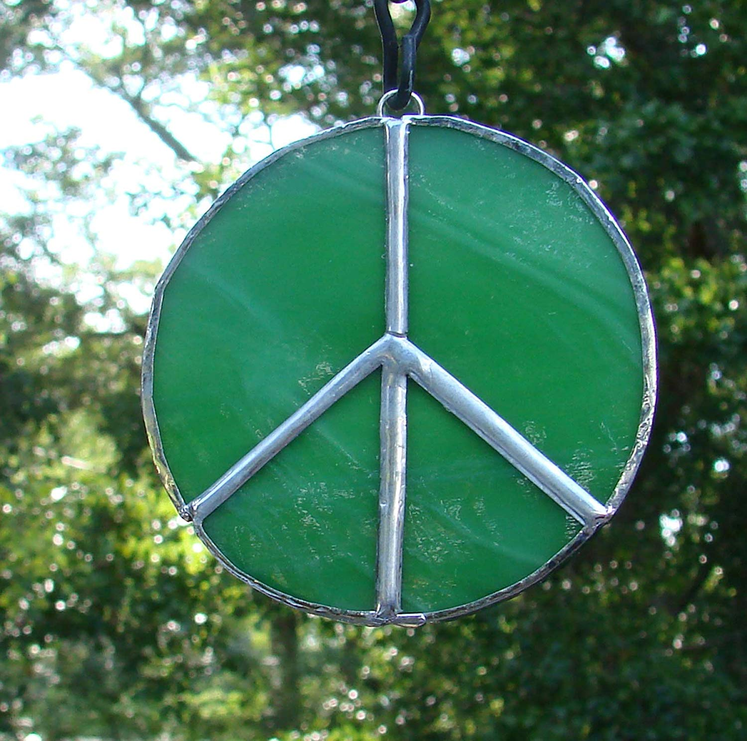 Green and White Peace Sign Handmade Stained Glass Christmas Ornament or Sun Catcher