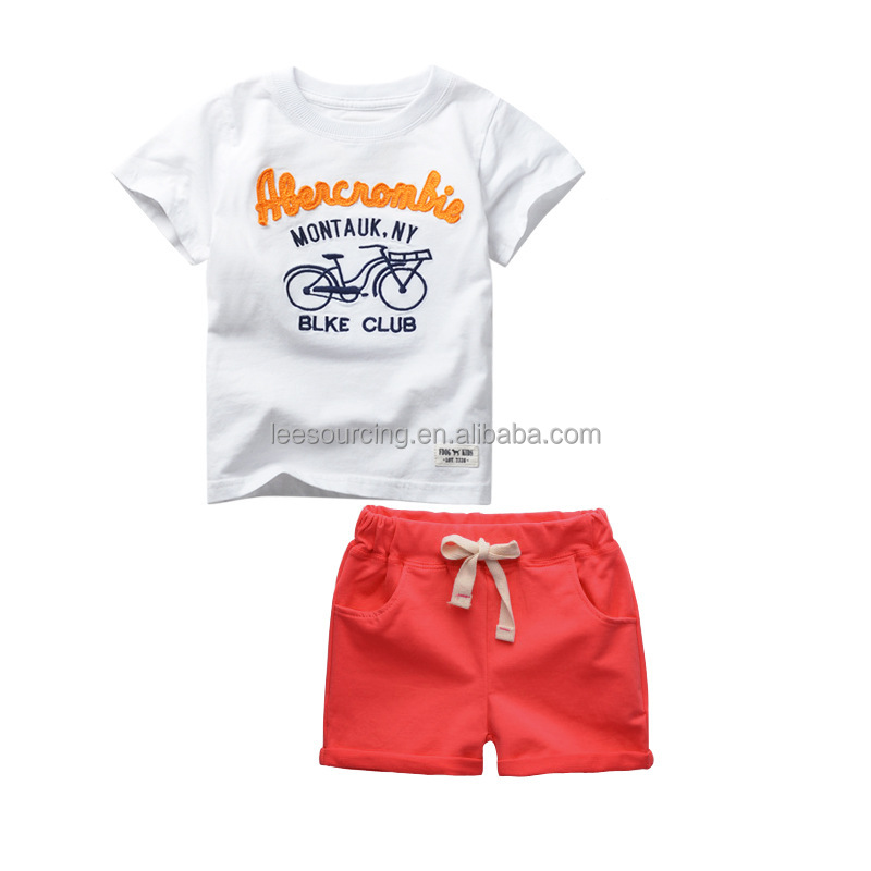 Wholesale summer cotton printing boys kids clothes clothing set