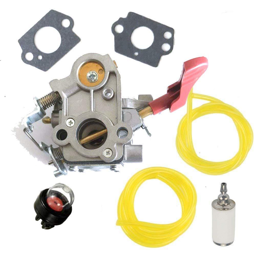 HQparts ZAMA W44 Carburetor Poulan PP133 PP333 Pro Gas Craftsman Trimmer 33cc Carb Zama 545189502, 545008042 Carb & Fuel Line & Primer Bule & Fuel Filter