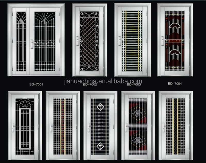 Double design stainless steel doors exterior house front for Exterior window grill design