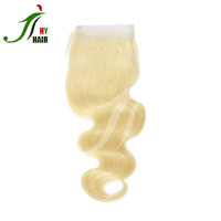 Free Shipping Brazilian Hair 2 Piece Body Wave 613 Color 100 Percent Human Hair Lace Closure 4*4